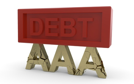 downgrade: Triple A credit rating breaking under debt :3d illustrtion isolated on white background Stock Photo