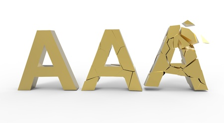 downgrade: Broken triple A golden symbol  isolated on white background Stock Photo