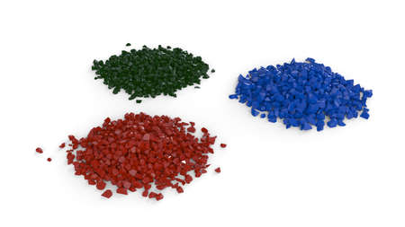 Heaps made of color particles over white background
