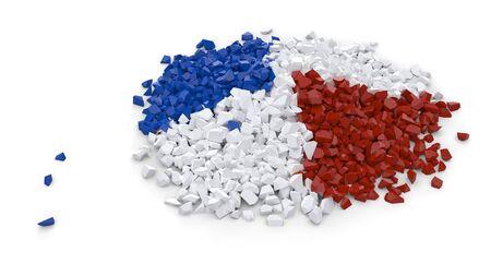Heap fait de particules mixtes rouges blanches et bleues sur fond blanc Banque d'images