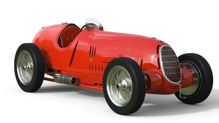 Front view of a red old race car isolated on white background