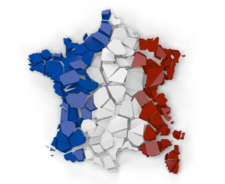 3D Render of a broken map of France isolated on white background photo