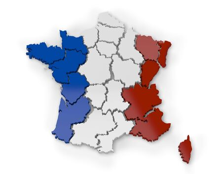 Computer rendering of a map of France showing regions in 3d photo