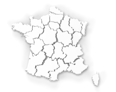 Computer rendering of a map of France showing regions in 3d Stock Photo