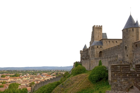 Medieval castle of Carcassonne isolated on white