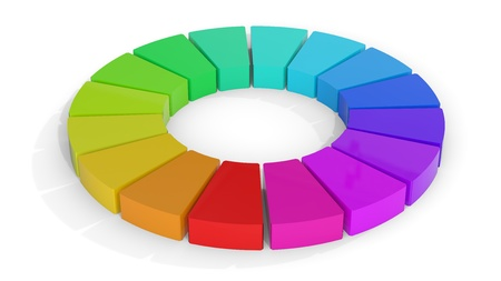 sampler: Computer rendering of a 3D color wheel isolated on white