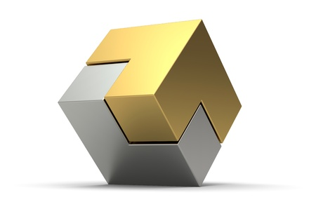 gold silver: 3d gold and silver cube isolated on white background