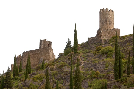 Lastours medieval castles isolated on white background photo