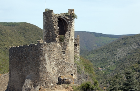 One of Lastours medieval castles in the south of France photo