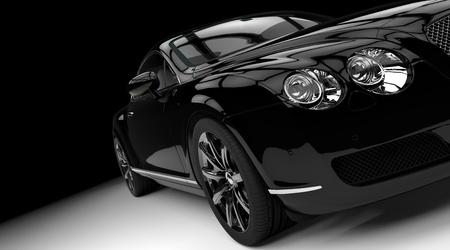 豪華さと強力な黒い車のスタジオ撮影 写真素材