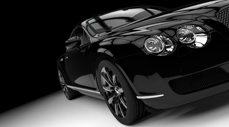 car front: Luxury and powerful black car studio shot
