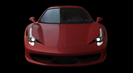 Front view of a red italian racing car on black background photo