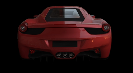 Rear view of a red italian racing car on black background