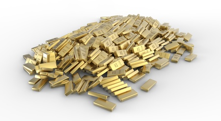 Huge stack of gold ingots on white background Stock Photo