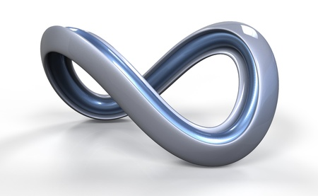 mobius loop: Moebius strib shaped object on white background