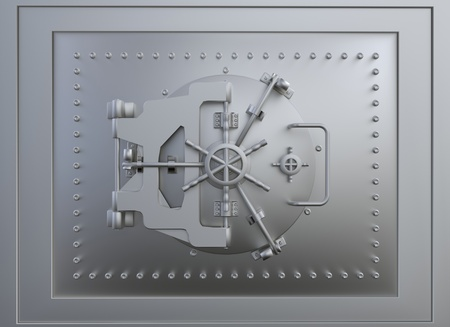 bank vault: Front view of a steel vault door Stock Photo