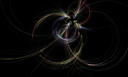 Fractal particle collision showing colorful trails