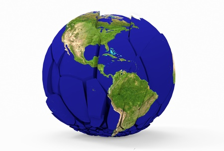 Globe terrestre bris� isol� sur fond blanc