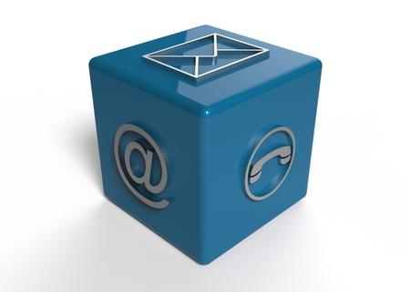 Mail, t�l�phone et email concept isol� sur blanc