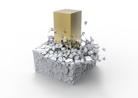 Impact concept showing a big golden rod crushing a fragile block