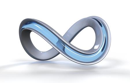 Moebius strib shaped object on white background