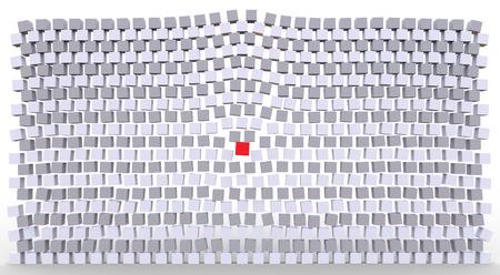 D�marquez notion montrant un cube rouge se d�placer ceux align�s Banque d'images