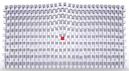 Stand out concept showing a red cube moving aligned ones photo