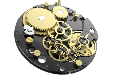 Watch mechanism and gears isolated on white background photo