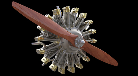 Radial engine and propeller isolated on black background Stock Photo