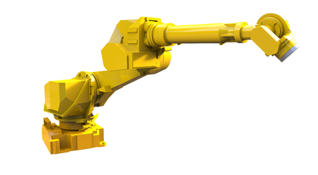 Yellow robot arm isolated on white background Stock Photo