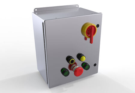 Metallic control box isolated on white background