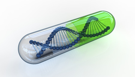 genetically modified organisms: DNA molecule in transparent pill isolated on white