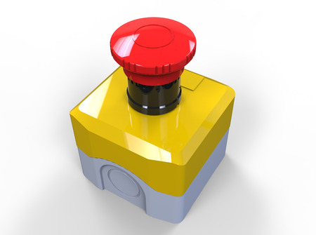 Red button emergency switch isolated on white photo