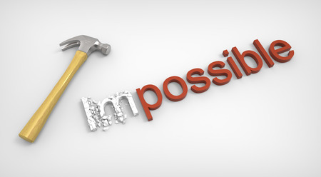 perseverance: Possible Impossible concept isolated on white background