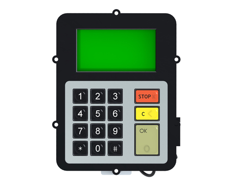 Keypad with green screen isolated on white background Stock Photo