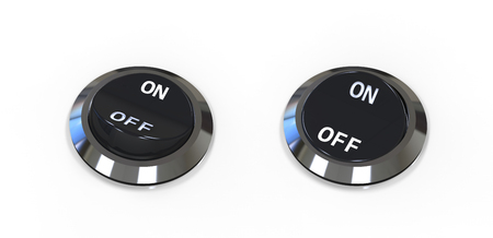 On and off position button switches isolated on white