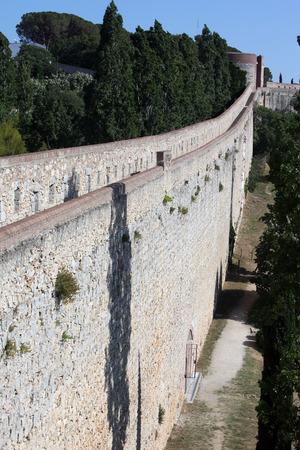 Old walls around Girona medieval city, Catalonia Spain