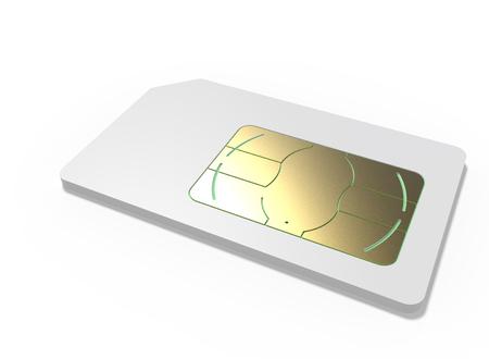 White blank SIM card isolated on white background