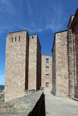 Rock towers inside Cardona medieval castle in Spain Editorial