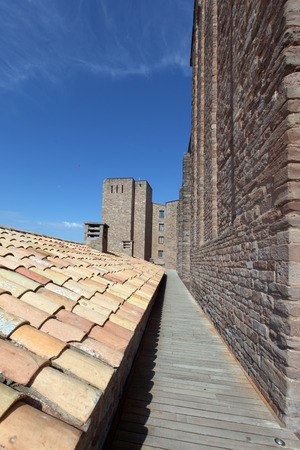 Towers and roof inside Cardona medieval castle in Spain Editorial