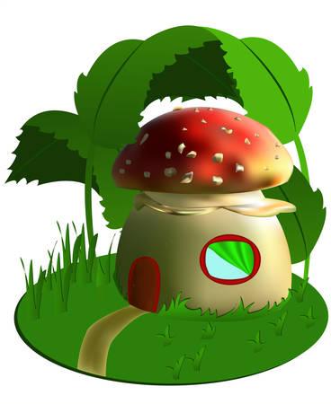 champignon magique: Vecteurs fabuleuse maison de voler agarique. Fantasy Illustration