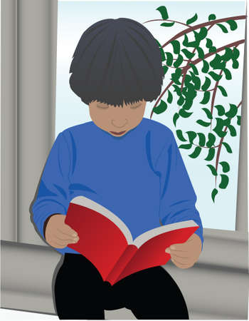 The boy, sitting on the window and to read books. Vector