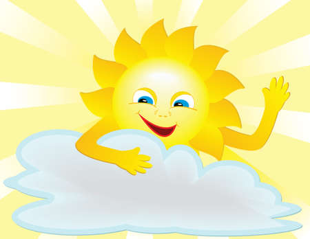 blue smiling: Caricature, vectors smiling sun. Welcome.a symbol of improved weather Illustration