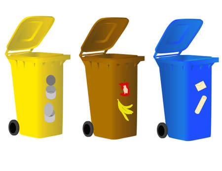 Garbage bins for sorting waste for environmentally conscious people. Vector