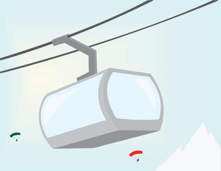 Cableway. Vectors lift in the mountains. Vector