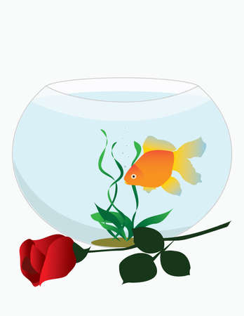 gold fish bowl: Vector image of a round pool with goldfish. Postcard. Illustration