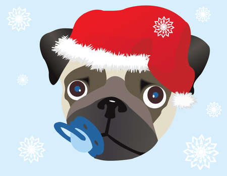 Pug in Christmas hat Stock Vector - 5755588