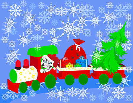 Christmas train with tree and gifts Vector