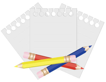 Pencil and paper for notes. vector illustration Vector