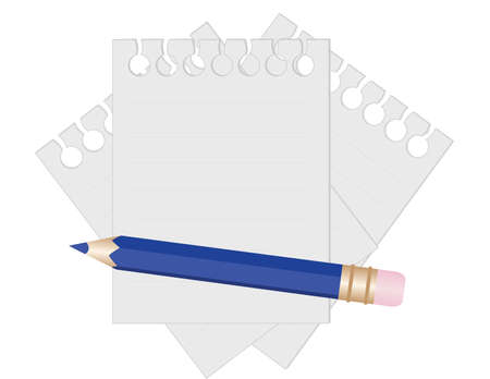 Pencil and paper for notes. vector illustration Фото со стока - 6101514